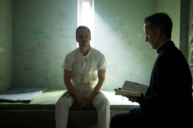 """DF-02748 – As he awaits his """"execution,"""" Callum Lynch (Michael Fassbender) is as yet unaware of the incredible adventures that lie ahead for him. Photo Credit: Kerry Brown."""